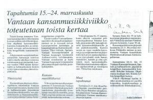 1991 Vantaan kansanmusiikkiviikko toteutetaan toista kertaa